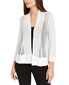 Petite Mixed-Knit Open-Front Cardigan, Created for Macy's