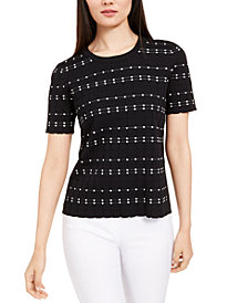 Alfani Textured Short-Sleeve Sweater, Created for Macy's