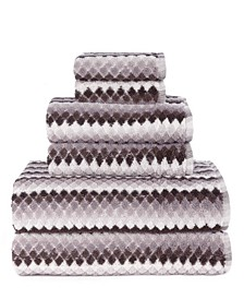 Central Park Studio Monetta Textured Stripe 6 Piece Bath Towel Set