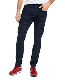 Men's Slim-Fit All-Over Logo Jeans