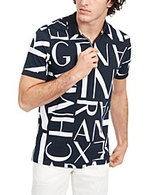 Men's All-Over Logo Quarter-Zip Polo Shirt