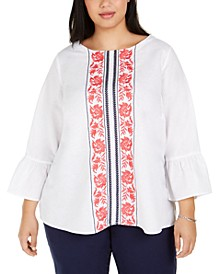 Plus Size Embroidered Bell-Sleeve Top, Created for Macy's