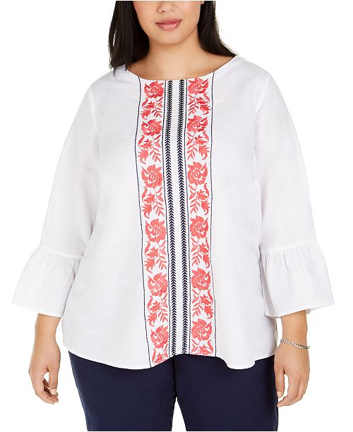 Charter Club Plus Size Embroidered Bell-Sleeve Top, Created for Macy's