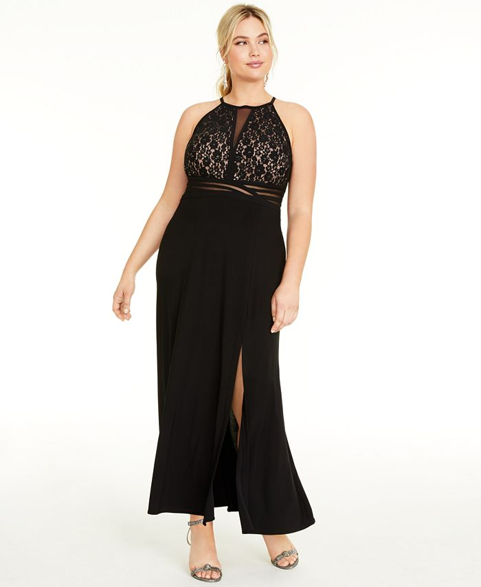 Morgan & Company - Trendy Plus Size Open-Back Gown
