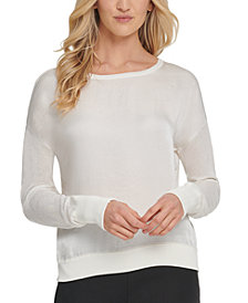 DKNY Satin-Front Sweater