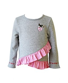 Toddler, Little, and Big Girls Fleece Pullover with Ruffle Detail