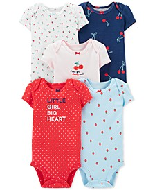 Baby Girls 5-Pk. Cherries Cotton Bodysuits