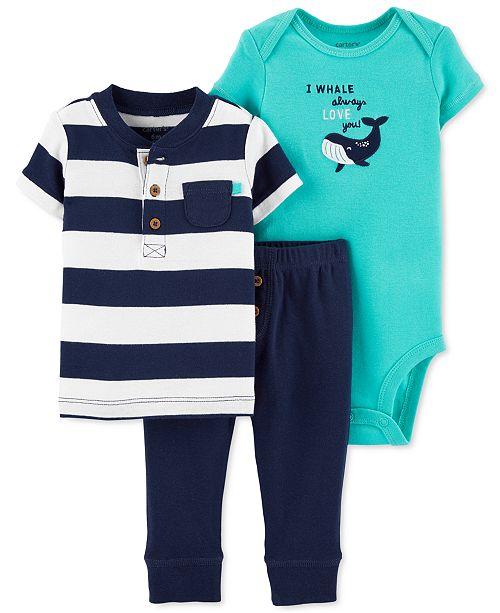 Carter's Baby Boys 3-Pc. Cotton Henley T-Shirt, Whale Bodysuit & Pants Set