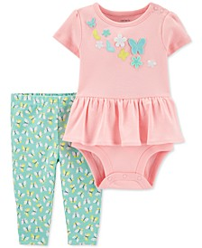 Baby Girls 2-Pc. Cotton Butterfly Peplum Bodysuit & Leggings Set