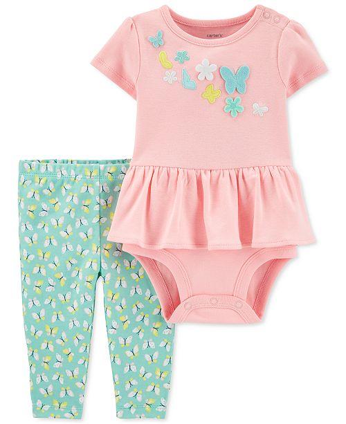 Carter's Baby Girls 2-Pc. Cotton Butterfly Peplum Bodysuit & Leggings Set