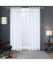 """Della Embroidery Sheer Curtain, 54"""" L x 54"""" W"""