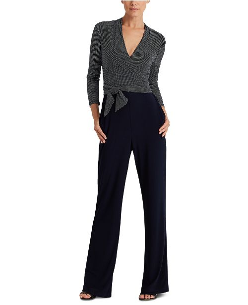 Lauren Ralph Lauren Color-Blocked Belted Jumpsuit