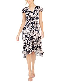 Flutter-Sleeve Floral Fit & Flare Dress
