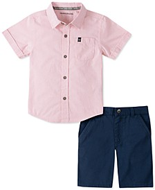 Toddler Boys 2-Pc. End-On-End Stripe Shirt & Twill Shorts Set