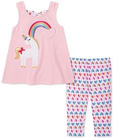 Little Girls 2-Pc. Unicorn Rainbow Tunic & Printed Leggings Set