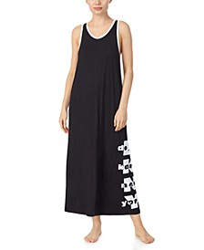 Printed Maxi Racerback Sleeveless Nightgown