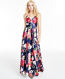 Juniors' Floral-Print Faux-Wrap Gown