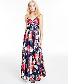 Juniors' Floral-Print Faux-Wrap Gown