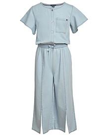Big Girls Cotton Flutter-Sleeve Jumpsuit