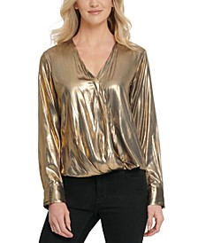 Metallic Wrap-Front Blouse