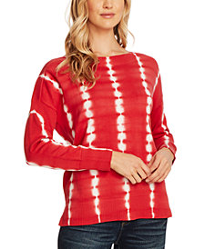 Vince Camuto Long-Sleeve Tie-Dyed Cotton Top
