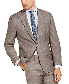 Michael Kors Men's Classic-Fit Airsoft Stretch Brown Windowpane Suit Jacket