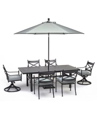"""Montclaire Outdoor Aluminum 7-Pc. Dining Set (84"""" X 42"""" Table, 4 Dining Chairs & 2 Swivel Chairs) With Sunbrella® Cushions, Created for Macy's"""