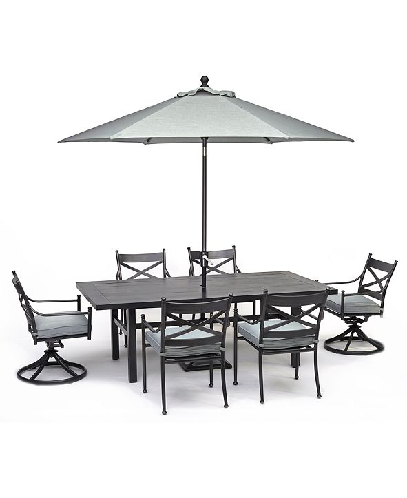 """Furniture Montclaire Outdoor Aluminum 7-Pc. Dining Set (84"""" X 42"""" Table, 4 Dining Chairs & 2 Swivel Chairs) With Sunbrella® Cushions, Created for Macy's"""