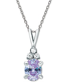 "Cubic Zirconia Oval 18"" Pendant Necklace in Sterling Silver"