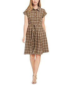 Petite Plaid Tie-Waist Shirt Dress