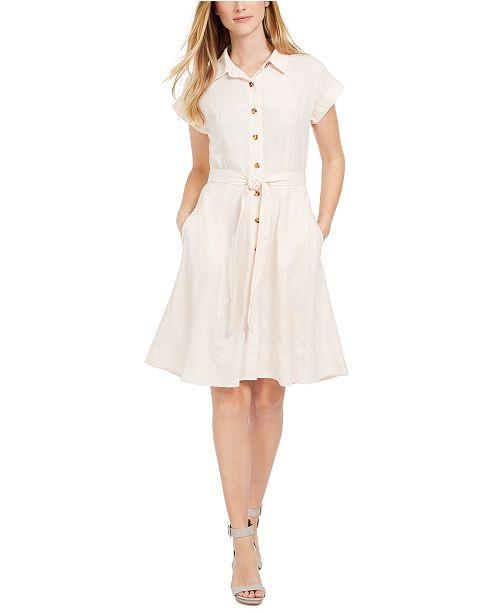 Calvin Klein Button-Front Belted Shirtdress