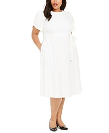 Plus Size Tulip-Sleeve Belted Fit & Flare Dress
