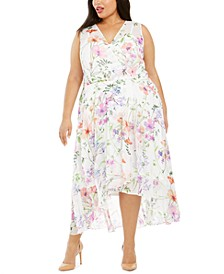 Plus Size Floral-Print High-Low Dress