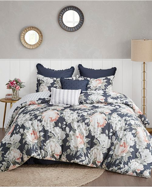 Madison Park Mavis 8 Piece Queen Cotton Printed Reversible Comforter Set
