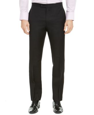Men's Classic-Fit UltraFlex Stretch Black Solid Tuxedo Pants
