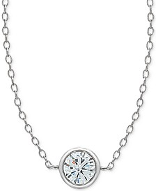 "Cubic Zirconia Bezel Pendant Necklace in Sterling Silver. 16"" + 2"" extender"
