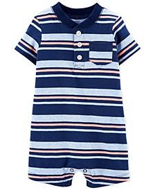 Baby Boys Striped Henley-Neck Cotton Romper