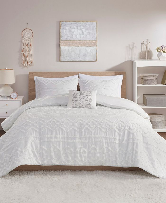 Intelligent Design - Annie 3 Piece Twin/Twin XL Solid Clipped Jacquard Comforter Set