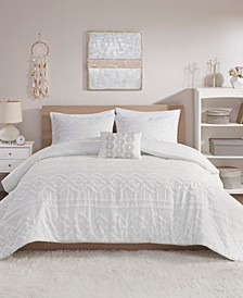 Annie 4 Piece Full/Queen Solid Clipped Jacquard Comforter Set