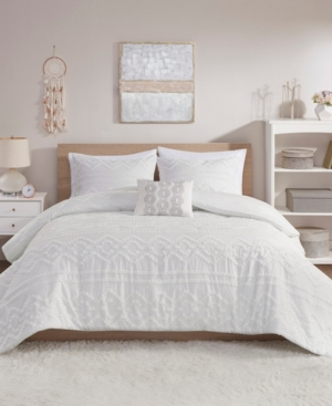 Intelligent Design Annie 4 Piece Full/Queen Solid Clipped Jacquard Comforter Set Bedding