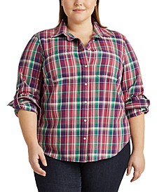 Plus-Size Plaid Cotton Twill Shirt
