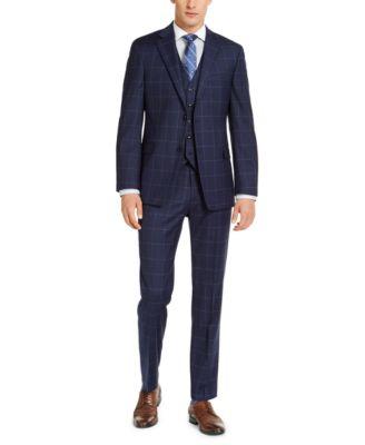 Men's Classic-Fit TH Flex Stretch Navy Blue Windowpane Suit Pants
