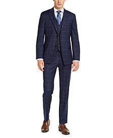 Tommy Hilfiger Men's Classic-Fit TH Flex Stretch Navy Blue Windowpane Suit Separates