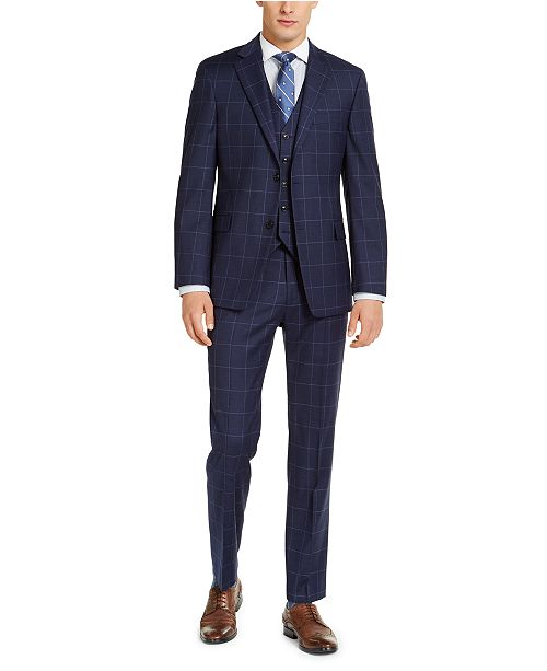 Tommy Hilfiger Men's Classic-Fit TH Flex Stretch Navy Blue Windowpane Suit Separates