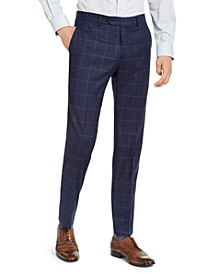Men's Classic-Fit TH Flex Stretch Navy Blue Windowpane Suit Pants