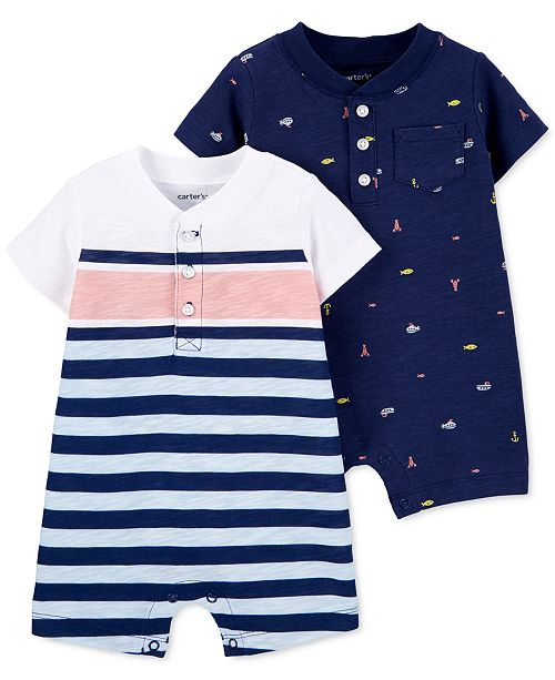 Carter's Baby Boys 2-Pk. Striped & Printed Cotton Rompers