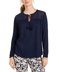 Tassel-Tie Eyelet Linen Top, Created for Macy's