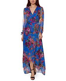 Printed Mesh Maxi Dress