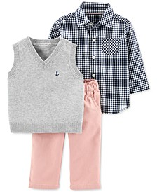 Baby Boys 3-Pc. Cotton Vest, Shirt & Pants Set