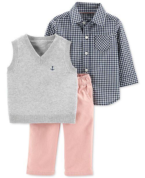 Carter's Baby Boys 3-Pc. Cotton Vest, Shirt & Pants Set